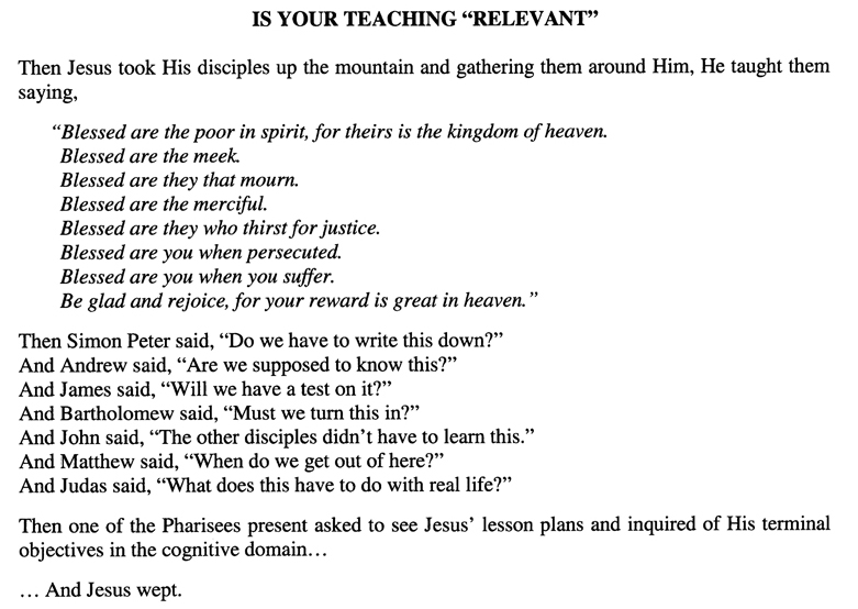 "Is Your Teaching ""Relevant"""