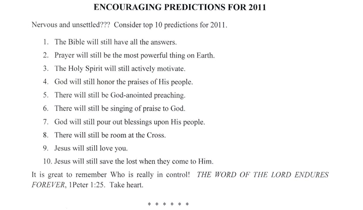 Encouraging Predictions for 2011