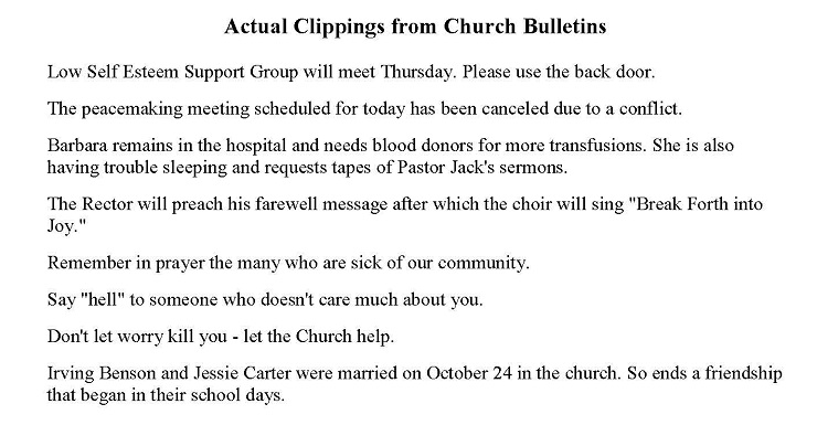 Church Bulletin humor